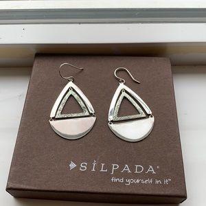 W3503 Silpada teardrop etched sterling earrings